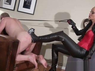 slave gets an high heel ass fuck with mistress thigh high boots