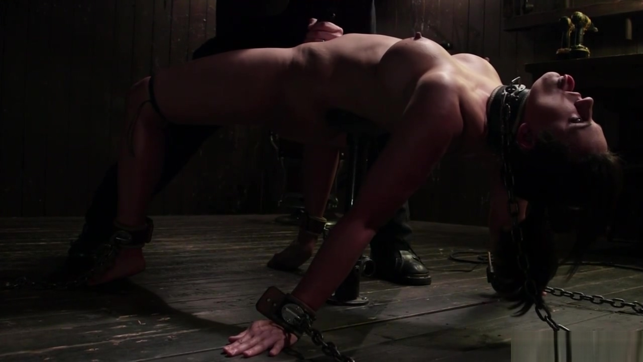Mummified and chained slave whipped