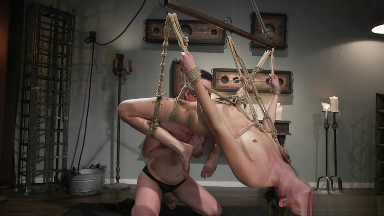 Busty lezdom whips tied slave