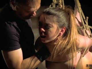 Hot and hardcore bdsm fuck for teen tied up in chains
