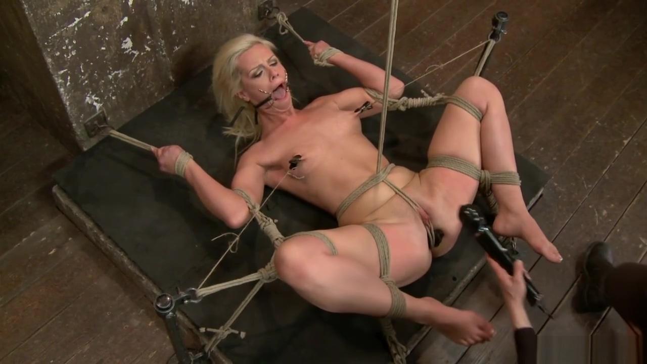 Blonde in extreme bondage gets caned