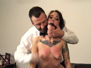 Tied up submissive whipped and fucked