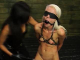 Lesbo sub is strapon choked