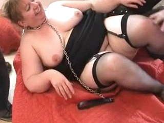 Fat French slut Annie enjoy an interracial threesome