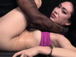 Cuffed bdsm sub pounded in interracial trio