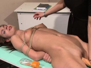 Lezdom teacher dildoes restrained schoolgirl